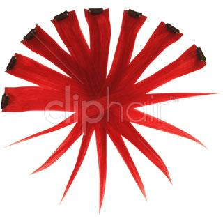 15 Inch Remy Clip in Human Hair Extensions Highlights / Streaks - Red