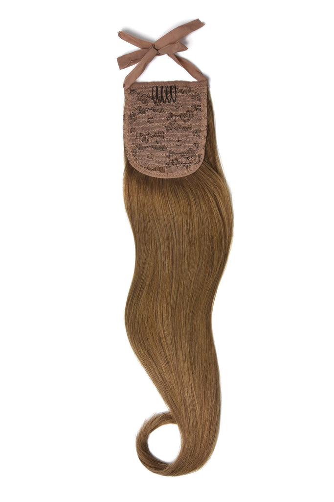 Clip in Ponytail Remy Human Hair Extensions - Light Auburn (#30)