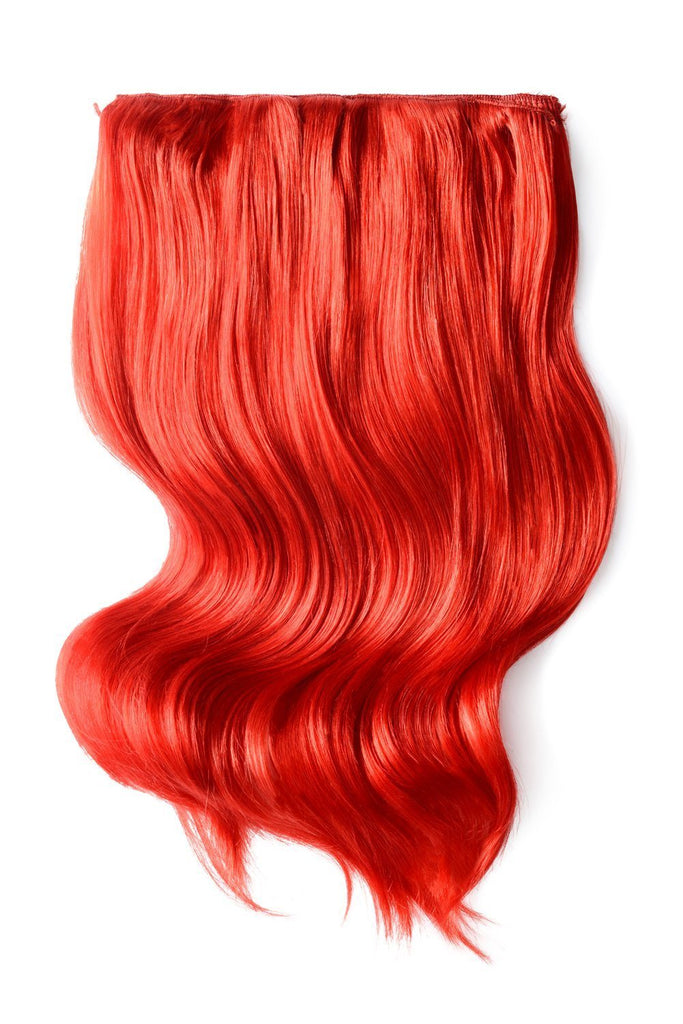 Double Wefted Full Head Remy Clip in Human Hair Extensions - Red