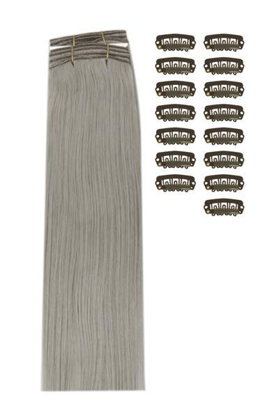 15 Inch DIY Remy Clip in Human Hair Extensions - Silver/Grey (#SG)