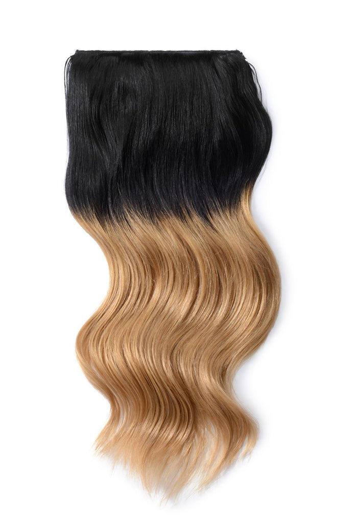 Double Wefted Full Head Remy Clip in Human Hair Extensions - ombre/Ombre (#T1/27)