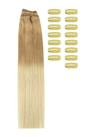 18 Inch DIY Remy Clip in Human Hair Extensions - ombre/Ombre (#T18/613)