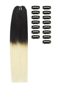 18 Inch DIY Remy Clip in Human Hair Extensions - ombre/Ombre (#T1B/60)
