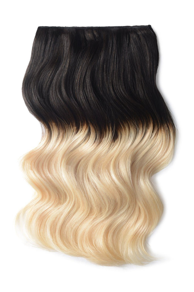 Double Wefted Full Head Remy Clip in Human Hair Extensions - ombre/Ombre (#T1B/60) Ombre Clip In Hair Extensions cliphair