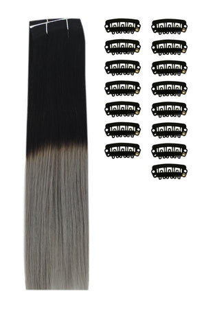 18 Inch DIY Remy Clip in Human Hair Extensions - ombre/Ombre (#T1B/SG)