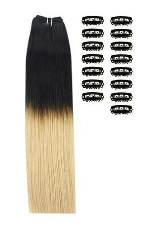 18 Inch DIY Remy Clip in Human Hair Extensions - ombre/Ombre (#T1/27)