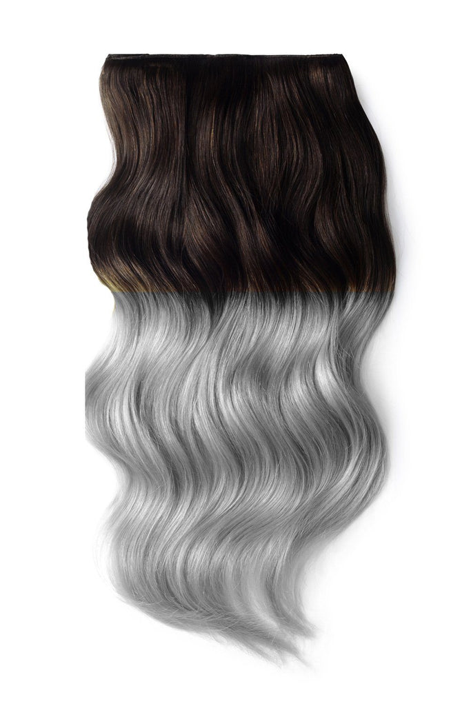 Full Head Clip in Hair Extensions Ombre - Dark Brown/ Silver Hair (#T2/SG)
