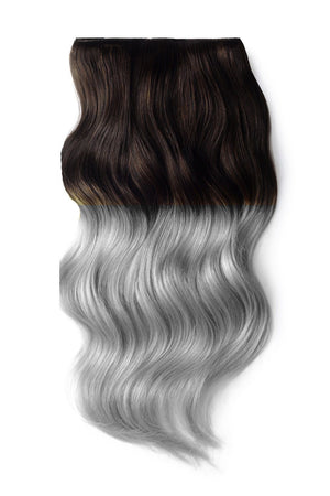 Ombre Full Head Remy Clip in Human Hair Extensions - Dark Brown/ Silver Hair (#T2/SG)
