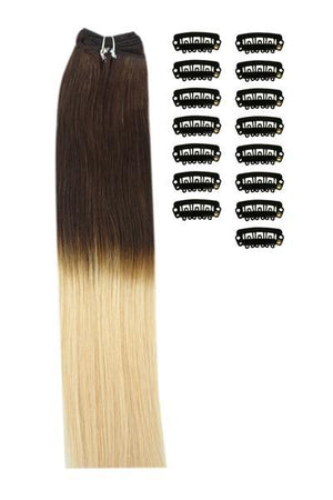 18 Inch DIY Remy Clip in Human Hair Extensions - ombre/Ombre (#T2/27)