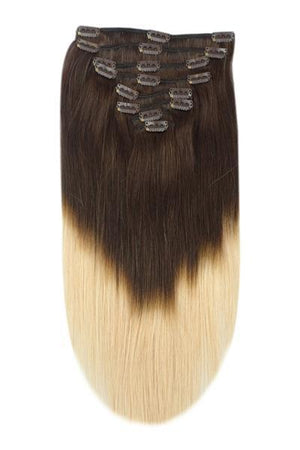 18 Inch Double Wefted Full Head Remy Clip in Human Hair Extensions - ombre/Ombre (#T2/27)