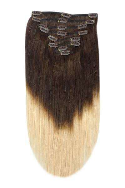Ombre Hair Extensions Clip In Shade Dark Brown Strawberry Blonde