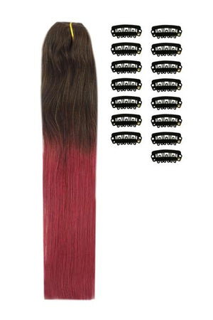 18 Inch DIY Remy Clip in Human Hair Extensions - ombre/Ombre (#T2/530)