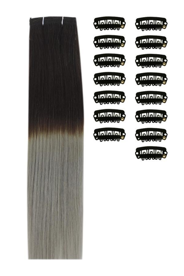 18 Inch DIY Remy Clip in Human Hair Extensions - ombre/Ombre (#T2/SG)
