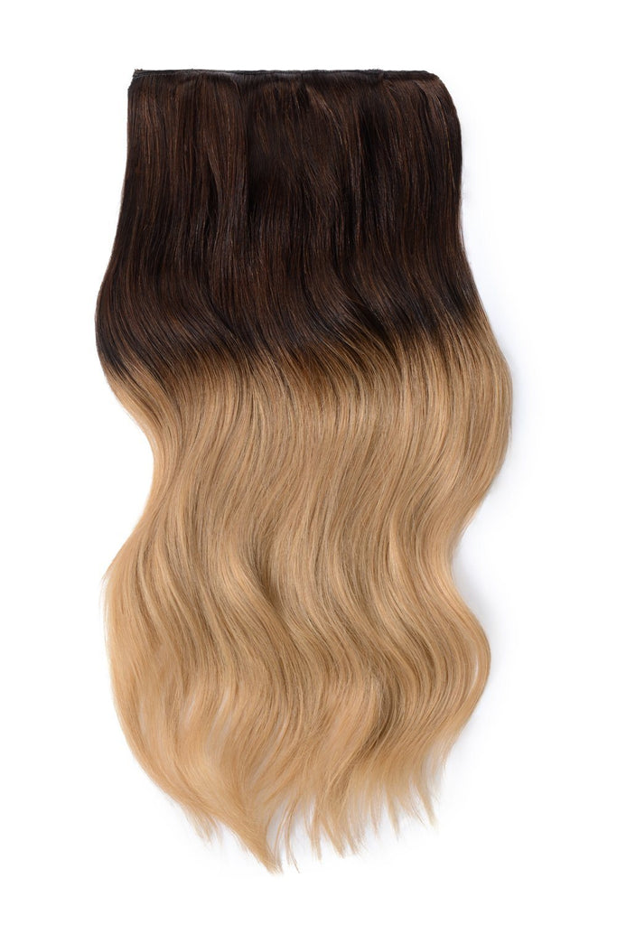 Double Wefted Full Head Remy Clip in Human Hair Extensions - Ombre #T4/27