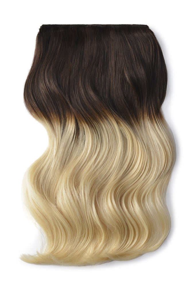 Double Wefted Full Head Remy Clip in Human Hair Extensions - ombre/Ombre (#T4/613)