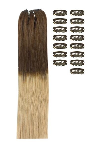 18 Inch DIY Remy Clip in Human Hair Extensions - Ombre #T4/27