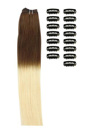 18 Inch DIY Remy Clip in Human Hair Extensions - ombre/Ombre (#T4/613)