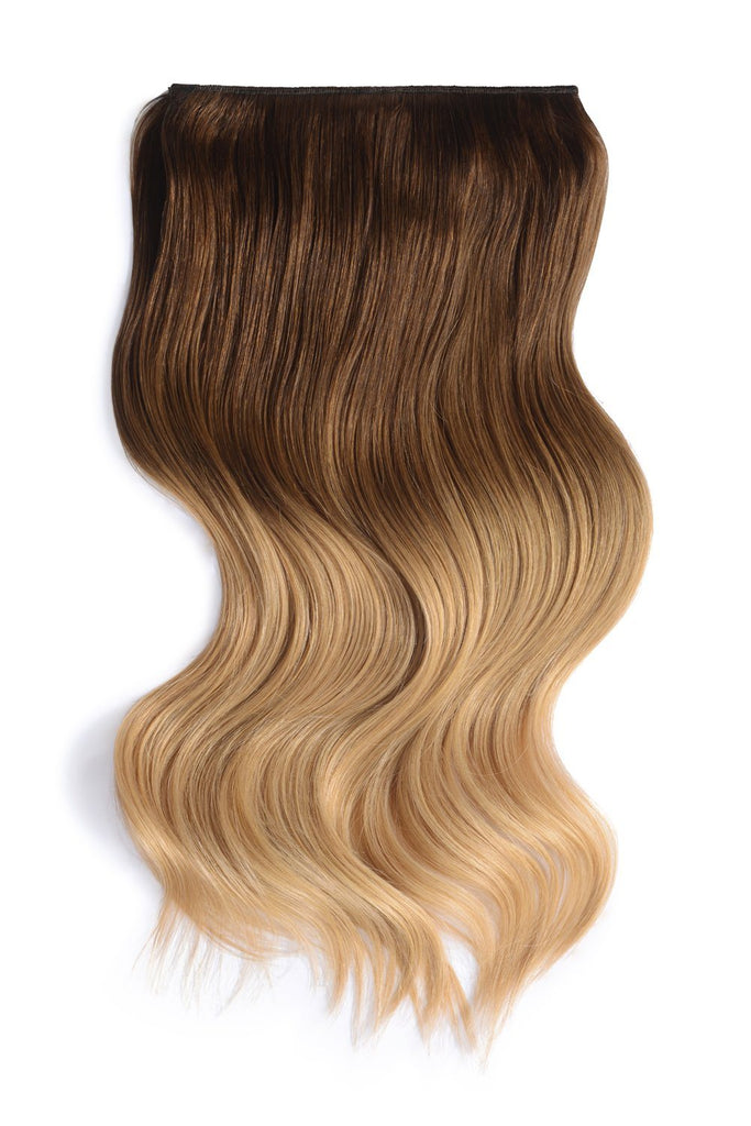 Double Wefted Full Head Remy Clip in Human Hair Extensions - ombre/Ombre (#T6/613)