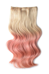 Full Head Remy Clip in Human Hair Extensions - ombre/Ombre (#T60/PINK)