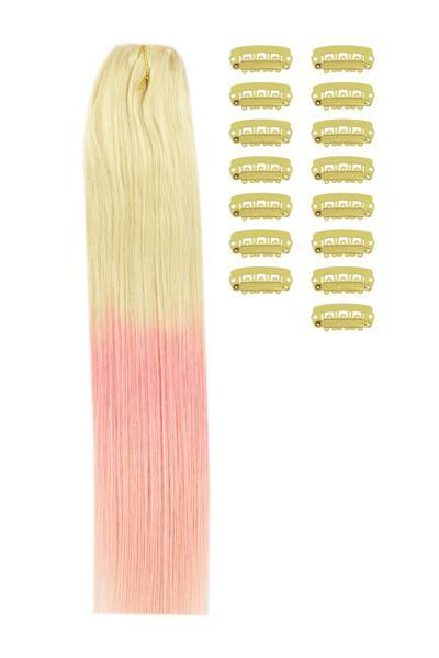 18 Inch DIY Remy Clip in Human Hair Extensions - ombre/Ombre (#T60/PINK)