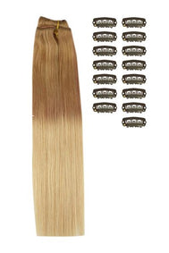 18 Inch DIY Remy Clip in Human Hair Extensions - ombre/Ombre (#T6/27)
