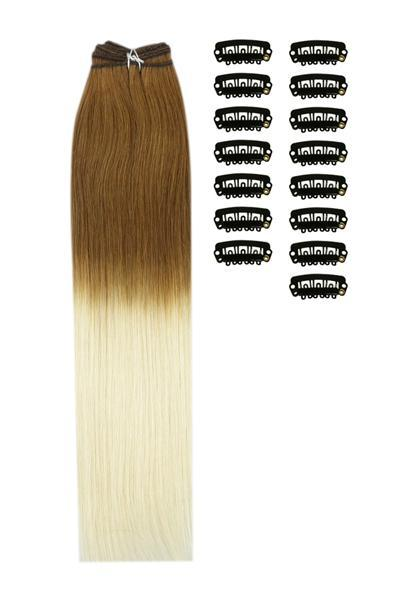18 Inch DIY Remy Clip in Human Hair Extensions - ombre/Ombre (#T6/613)
