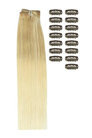 18 Inch DIY Remy Clip in Human Hair Extensions - ombre/Ombre (#TP18/613)
