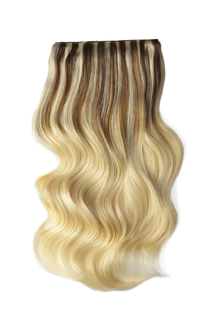 Double Wefted Full Head Remy Clip in Human Hair Extensions - ombre/Ombre (#TP6/613)