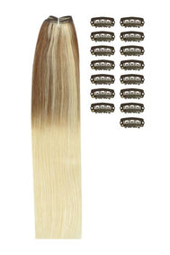 18 Inch DIY Remy Clip in Human Hair Extensions - ombre/Ombre (#TP6/613)