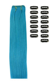 15 Inch DIY Remy Clip in Human Hair Extensions - Turquoise