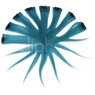 15 Inch Remy Clip in Human Hair Extensions Highlights / Streaks - Turquoise