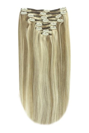 Full Head Remy Clip in Human Hair Extensions - Ash Brown/Bleach Blonde Mix (#9/613)