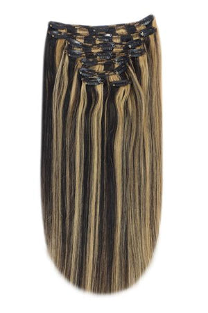 Full Head Remy Clip in Human Hair Extensions - Natural Black/Blonde Mix (#1B/27)
