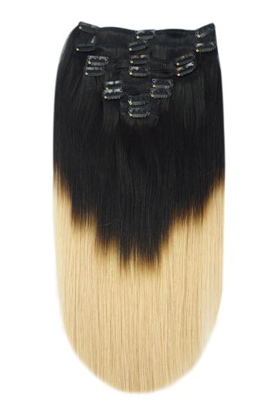 Hair Extensions Clip In Ombre Jet Black Blonde Shade #T1/27
