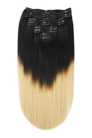 Full Head Remy Clip in Human Hair Extensions - ombre/Ombre (#T1/27)