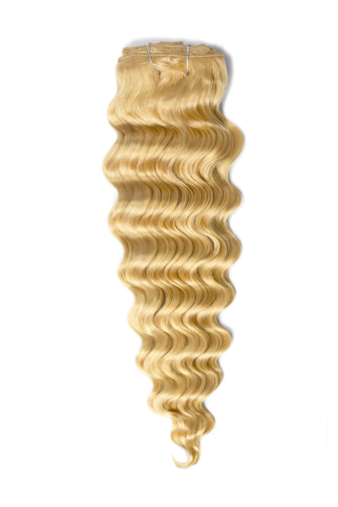 Wavy Full Head Remy Clip in Human Hair Extensions - Bleach Blonde (#613)