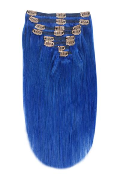 vibrant blue clip in human hair extensions