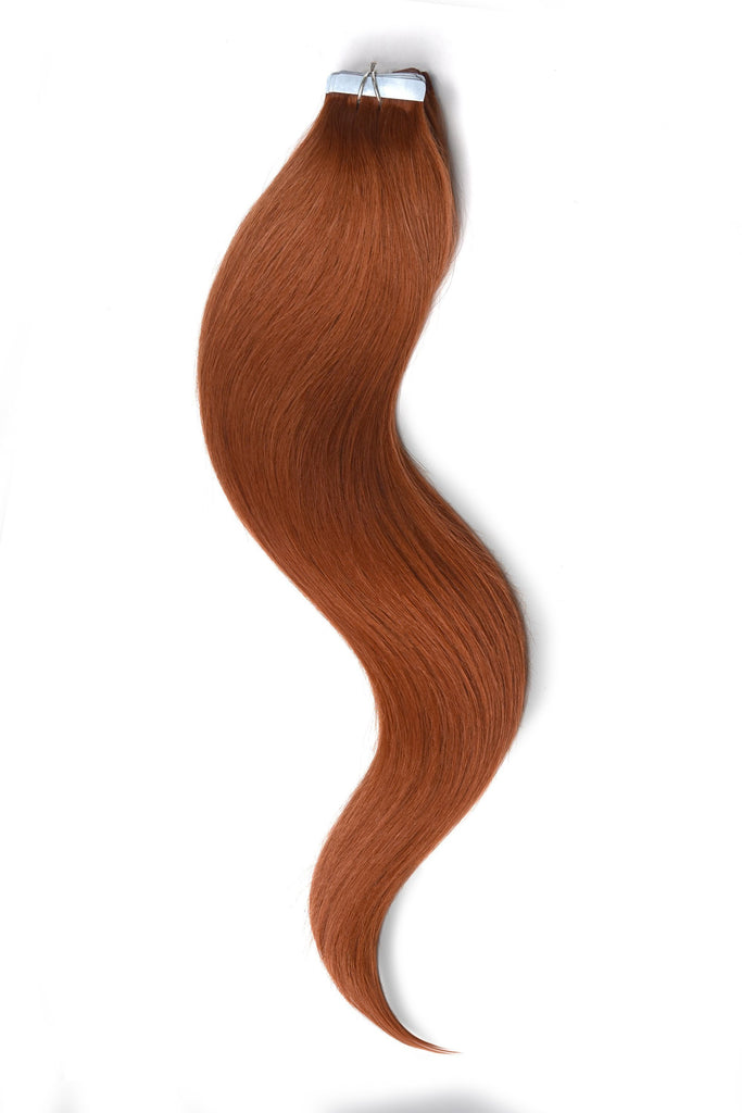 Tape in Remy Human Hair Extensions - Ginger / Natural Red (#350) Tape in Hair Extensions cliphair