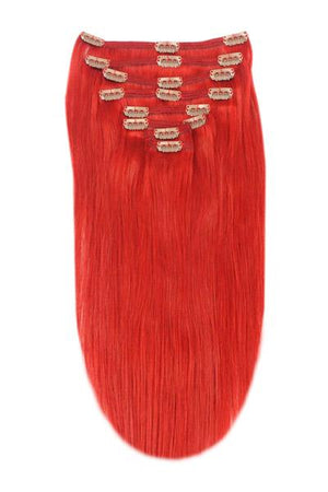 Full Head Remy Clip in Human Hair Extensions - Bright Red