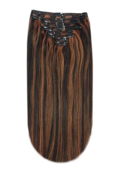Full Head Remy Clip in Human Hair Extensions - Medium Brown/Auburn Mix (#4/30)