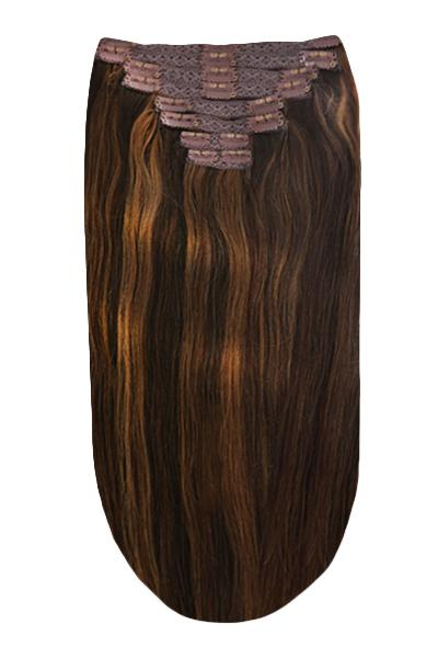 Full Head Remy Clip in Human Hair Extensions -  Brown Mix (#2/4/6)