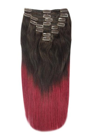 Full Head Remy Clip in Human Hair Extensions - ombre/Ombre (#T2/530)