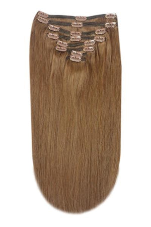 Full Head Remy Clip in Human Hair Extensions - Light/Chestnut Brown (#6)