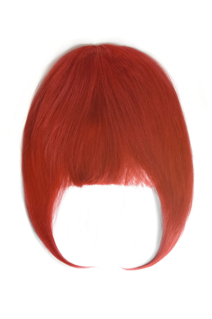 Clip in /on Remy Human Hair Fringe / Bangs - Bright Red