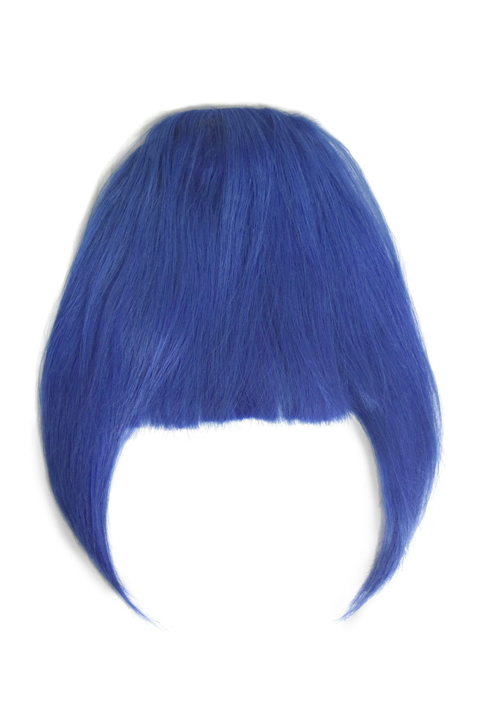 clip in fringe bangs human hair in shade blue