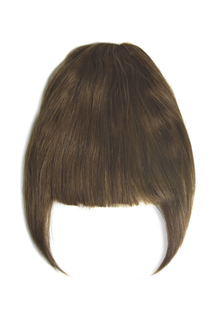 clip in fringe human hair ash brown shade 8
