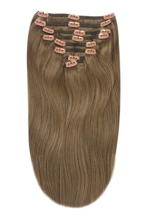 Full Head Remy Clip in Human Hair Extensions - Ash Brown (#9)