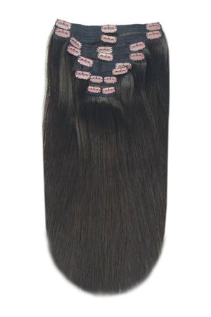 Full Head Remy Clip in Human Hair Extensions - Darkest Brown (#2)