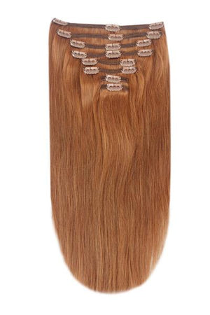 Full Head Remy Clip in Human Hair Extensions - Light Auburn (#30)