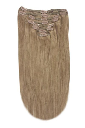 Full Head Remy Clip in Human Hair Extensions - Medium Ash Brown (#8)
